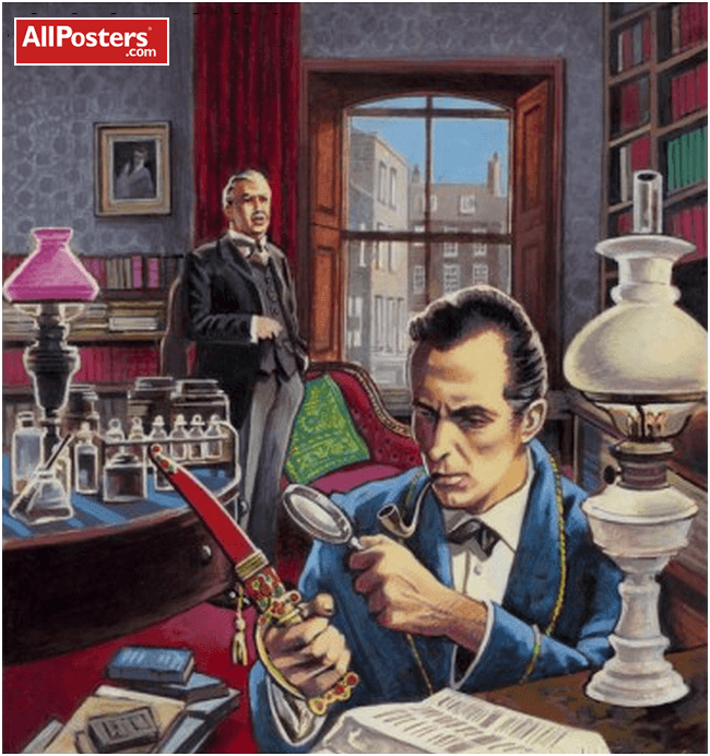 Holmes and Watson at 221B Baker Street illustration