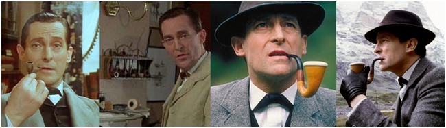 Jeremy Brett as Sherlock Holmes with pipe