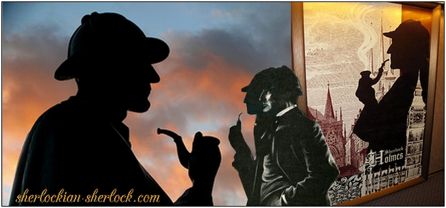 Sherlock Holmes silhouette with pipe